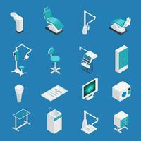 Set di icone isometriche di stomatologia dentale vettore
