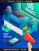 Flyer isometrico del cinema 3D