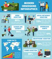 Infographics di ossessioni moderne vettore