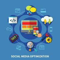 Composizione rotonda dei social media vettore