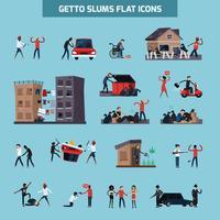 set di icone piatte slum ghetto vettore