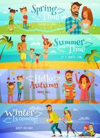 banner di famiglia di stagione vettore