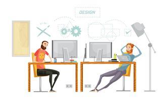 Composizione nell'ufficio del design del gioco vettore