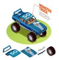 Immagine isometrica del modello 4wd dell'automobile del mostro vettore