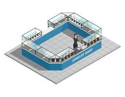 Interiore isometrico del negozio di gioielli con il venditore