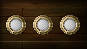 Set di oblò di navi vettore