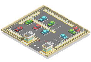 Posizione isometrica della zona di parcheggio vettore
