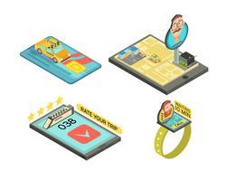 Chiama Taxi per composizioni isometriche gadget vettore