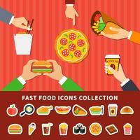 Icone di fast food mani piatte banner vettore