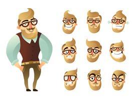 set di icone uomo emozioni