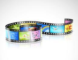 Striscia di pellicola con immagini colorate vettore