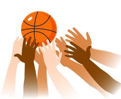 Primo piano del gioco del gioco di pallacanestro vettore