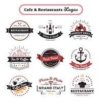 Design vintage di caffè e ristorante loghi