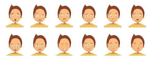 Collezione di cartoni animati di emozioni di bambini Avatars vettore