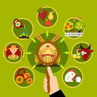Agricoltura Lente d'ingrandimento concetto vettore