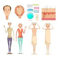 Set di elementi di perdita di capelli vettore