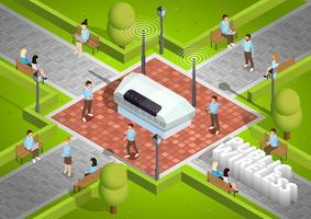 Poster isometrico all'aperto di tecnologia wireless pubblica vettore