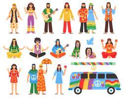 Set di icone decorative hippie vettore