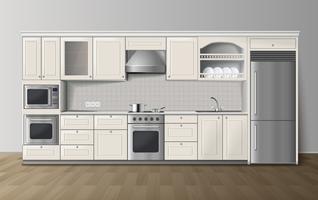 Immagine interna realistica bianca della cucina di lusso