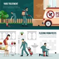 Set di banner piatto di tecnologia di controllo dei parassiti vettore