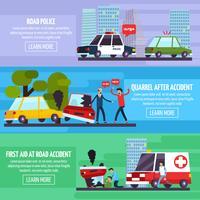 Set di banner di incidenti stradali