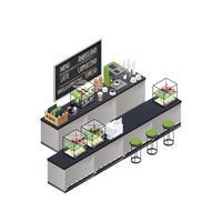 Composizione isometrica Coffee Bar vettore