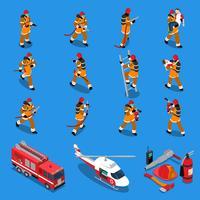 Insieme isometrico del vigile del fuoco vettore