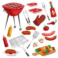 Set di elementi griglia per barbecue vettore