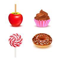Set realistico di dolci dolci vettore