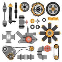 Set di pezzi meccanici vettore