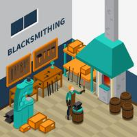 Poster isometrico dell'interno di Blacksmith Shop Facility