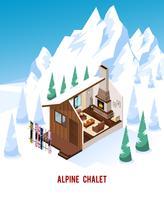 Chalet isometrica con camino nelle montagne vettore