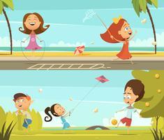 Set di banner di bambini che giocano