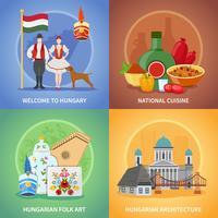 Set di composizioni culturali ungheresi vettore