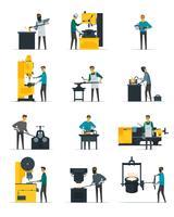 Raccolta piana delle icone di processo metallurgico del fabbro vettore