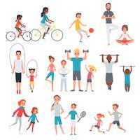 Set di fitness piatto persone vettore