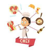 Illustrazione di vettore del fumetto del cuoco unico per i bambini
