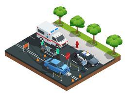Composizione isometrica di incidenti stradali vettore