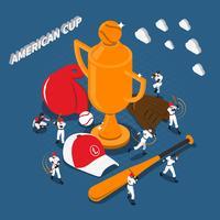 Illustrazione isometrica del gioco di baseball della tazza americana vettore