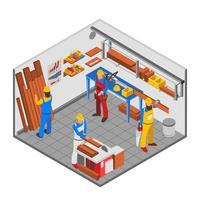 Concetto della gente della lavorazione del legno vettore