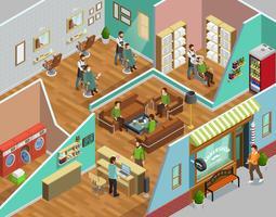 Illustrazione isometrica interna del negozio di barbiere