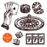 Collezione di Casino schizzo disegnato a mano vettore