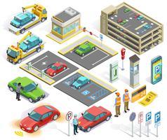 Parcheggio set di elementi isometrici vettore