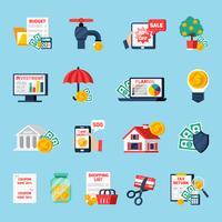 Set di icone di bilancio domestico