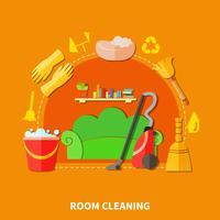 Composizione tonda per la pulizia della stanza