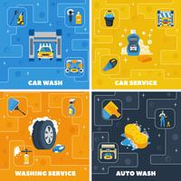 Car Wash 4 Flat Icons Square