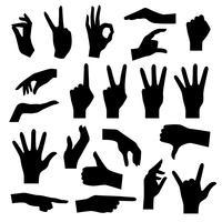 Set sagome di mani vettore