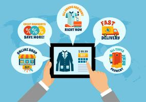 Shopping on Tablet online composizione vettore