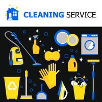 Collezione di attrezzature per la pulizia