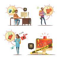 Composizione di icone retrò dei cartoni animati 4 hacker vettore